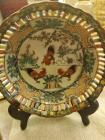 "6"" Chinese famille rose porcelain red Canton rooster plate with stand"