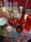 Miscellaneous lot of red glass items, and a couple items of Asian influence