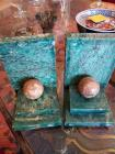 A pair of vintage green marble bookends