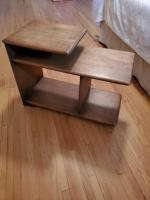 "Unique handmade end table/bedside table. Table is 20"" tall by 12"" wide by 27"" deep."