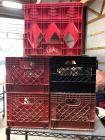 4 standard size plastic crates & 1 taller/skinnier coke crate