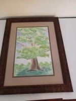 Watercolor print of a tree.