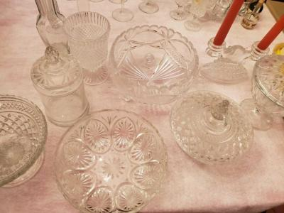 A large grouping of cut glass items