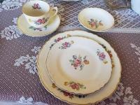 Vintage china with roses. Some chips. See photos.