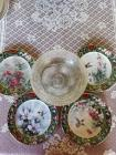 Bradford exchange hummingbird plates and crackle glass candle holder.