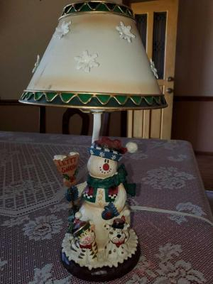 "Cute snowman lamp with metal shade. 13"" tall."