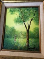Signed and framed oil painting colors of green and yellow