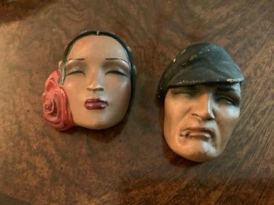 Two Margot Masks, French Cancan circa late 1920's and 1930's