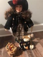Boyd's Bears and Friends Collectible doll and bear, fall basket and bear with pumpkin