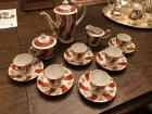 Occupied Japan hand painted demitasse set for 6