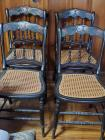 Four vintage wicker and wood chairs