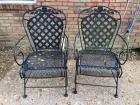 "2 Matching spring back Iron Patio Chairs - 37.5"" tall, seats are 15.5"" from ground"