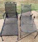 2 Mismatched Metal Patio Loungers With adjustable backs