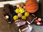 Sports Balls, brand new YL baseball gloves, Rawlings youth helmet, two kids mits...