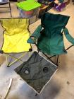 2 Folding chairs (the yellow one needs a good cleaning!) and a folding beverage holder