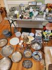 Large grouping of silver plate serving items, drinkware, some decorative pieces, etc.