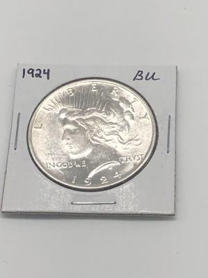 1924 Brilliant Uncirculated Peace Silver Dollar
