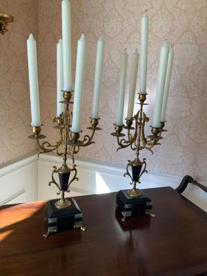 Pair of Victorian five light marble and brass candelabras