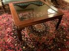 Square walnut glass top coffee table