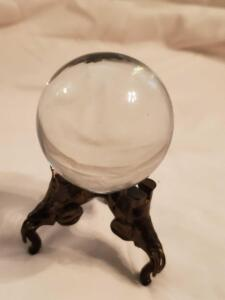 "2 crystal items, a 3.5"" crystal ball on a stand, and an ashtray"