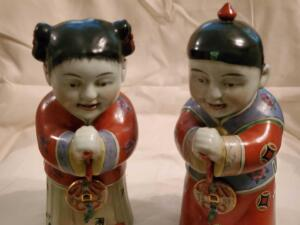 "A pair of Vintage, hand painted, Asian figurines, 10"" tall"