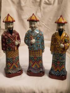 "Three vintage hand painted Asian figurines, 14"" tall"