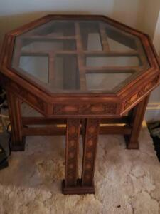 Hexagon shaped, Glass topped, wood carved accent table