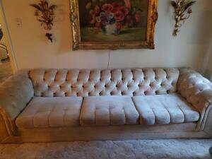 "Kroehler ""Royale"" tufted sofa with accent pillows"