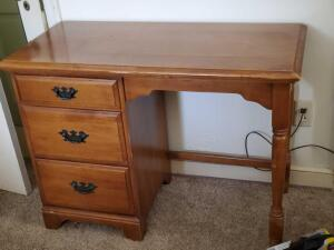A 3 drawer desk and chair, plus contents in the desk