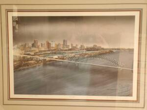 Framed, limited edition artist proof by famous artist r. Thornton of Memphis at night