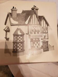 "Department 56 dickens'village series, ""j.d. Nichols toy shop,"" in original box"
