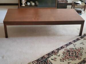 "Very sturdy coffee table, 15"" tall, 66"" across, 30"" wide"