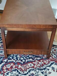 "A solid wood accent table, 23"" tall, 24"" across, 29"" front to back"