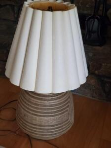 "A large unusually designed lamp, 27"" tall, shade is 14"" tall"