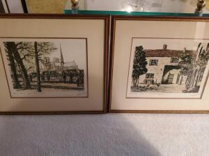 A pair of framed, matted prints, 1 is of Notre Dame church in paris