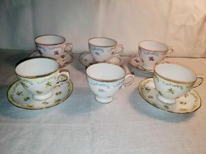 Grouping of Queen Anne china cups and saucers.