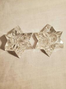 "A pair of Waterford candle holders. Star shaped. 2"" tall."