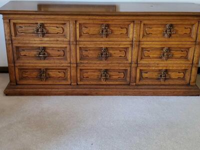 "An upscale heritage 9-drawer dresser, 32"" tall, 72"" across, 20"" front to back"