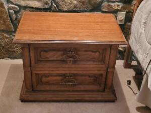 "A heritage 2-drawer night stand, 20"" tall, 28"" across, 18"" front to back"