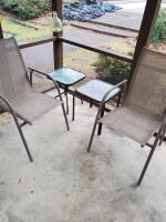 "2 patio chairs and 2 small tables, chairs are 38"" tall, tables are 18"" tall"