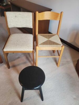 2 chairs and a stool