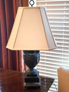 "Antique styled table lamp, 30"" tall, shade is 13"" tall"