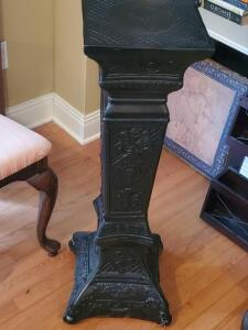 "Antique style black pedistal, 36"" tall, base is 13"" x 13"""