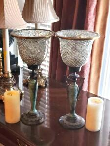 "2 antique styled 18"" tall candle holders"