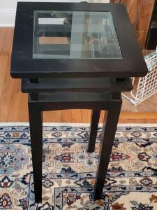 "A vintage accent table/plant stand with a glass top, 30"" tall, top is 14"" x 14"""