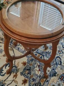 An interesting vintage queen Anne styled accent table with a removable top