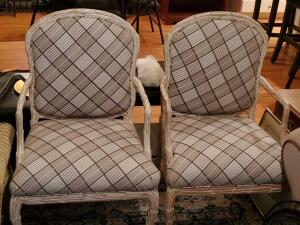 "A pair of unusual accent chairs, seat is 18"", back is 37"", 22"" across, 21"" front to back"