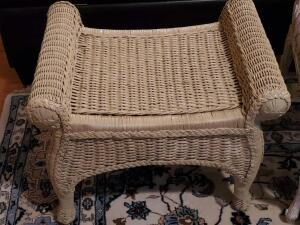 "A sturdy wicker accent table, 19"" tall, 26"", 18"" front to back"
