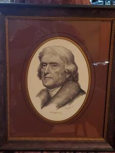 "A j. Wilbur gonterman framed and matted litho of Thomas jefferson, 19"" x 16"""
