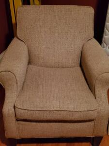 "An occasional chair, seat is 18"", back is 36"" tall, 30"" across, 34"" front to back, cushion is attached"